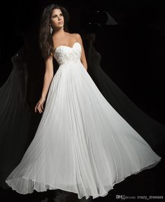 Wholesale 2015 Prom Dresses - Buy Custom White Prom Evening Dress Chiffon Sweetheart Sleeveless A Line Backless Floor Length Applique Lace Beads Bridesmaid Evening Gowns 2015, $113.09   DHgate
