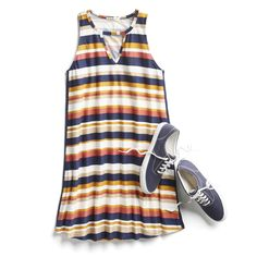 Stitch Fix Casual Summer Outfit Ideas I am totally not a dress/skirt person at all, but I would totally wear this. Love the sneaks, and stripes. I would just throw a cardigan over to cover my shoulders, and wear leggings underneath. Autumn Fashion 2018, Summer Fashion Trends, Best Casual Outfits, Cute Outfits, Casual Dresses, Pool Outfits, Fix Clothing, Stitch Fit, Fashion Corner