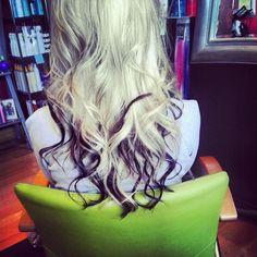 My hair. Blonde hair with tips dyed dark.  When my hair is long again I'm soooo doing this.