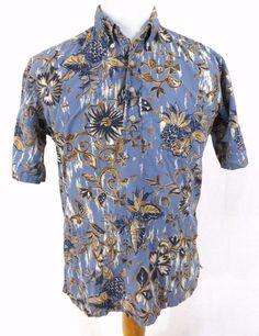 Reyn Spooner Shirt Large Hawaiian Pullover Floral Hibiscus Tribal Button Collar #ReynSpooner #Hawaiian