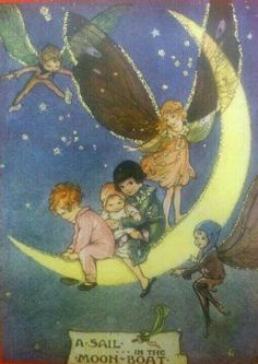 :: Sweet Illustrated Storytime :: Illustration of fairy moon boat Vintage Fairies, Vintage Art, Vintage Moon, Vintage Travel, Flower Fairies, Fairy Art, Moon Art, Children's Book Illustration, Fairy Tale Illustrations