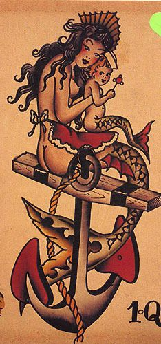sailor jerry mermaid and child ..tattoo that I love! Under the current sleeve or have 2 sleeves?