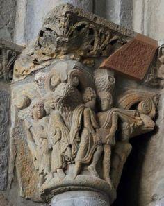 Capitel románico con constructores - Catedral de Jaca