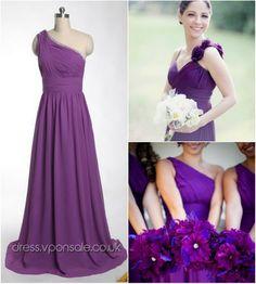 Elegant Purple Bridesmaid Dresses @Courtney St Amant love this one shoulder dress:)