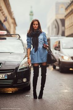 Charlotte Collard- Stockholm Streetstyle  Thigh-high black boots paired with a short denim dress <3