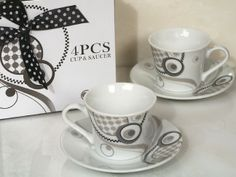 Stylish and practical, espresso cup favors are one of our hottest favor picks for this season. Each of these elegant porcelain espresso coffee cups have a stylish modern design pattern in silver,  white and black colors. These chic yet practical favors are sure to be a hit with your guests. If you want to give a gift that truly shows your guests you appreciate them sharing your special day with you these espresso cups with leave them with a lasting memory of this day. Each set includes two…