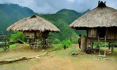 Traditional Ifugao tribal house with its pyramidal thatched roof of palm leaves, windowless walls elevated by 4 tree trunks, the Phillipines. Filipino House, Filipino Architecture, Hut House, Bahay Kubo, Filipino Culture, Unity In Diversity, Bamboo House, Vernacular Architecture, Thatched Roof