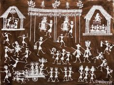 Jivya Soma Mashe - Wedding Procession, Warli art, India