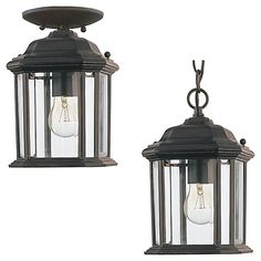 A fashionable black finish combines flawlessly with clear beveled, making this Sea Gull Lighting outdoor pendant sleek and sophisticated, while the energy saving bulbs make it practical. The 100 watt bulbs give off the ideal amount of light for any outdoor application. If you are looking for a bold, new age accent for your home look no further.