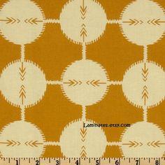 LAMINATED cotton fabric by the yard - Saffron Field Study yardage (aka oilcloth…