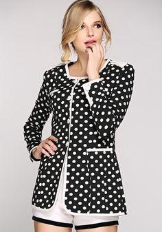 Black Polka Dot Print Pockets Sweet Coat