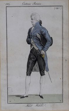 This formal outfit could be for court wear. 1814 costume parisien