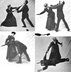 Defend yourself from Hooligans using your wits and a parasol with a hooked handle.  Madame Vigny/ Miss Sanderson taught self defence classes in early 1900s England.
