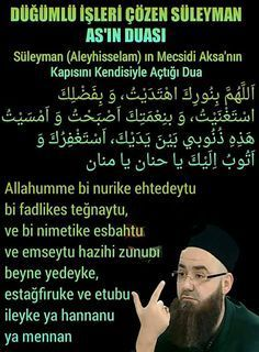 Suleiman (Aleyhisselam) in Mecsidi Aksa 's door opens with him the prayer Haseni Basri (radiyallahu anhu) said that; Duaa Islam, Allah Islam, Islam Quran, Islamic Dua, Islamic Quotes, Learn Turkish Language, Learn Quran, Islam Facts, Wedding Quotes