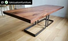 This is absolutely stunning! Repost ( ・・・ Walnut dining table got delivered today.the top is a bookmatched pair of slabs and then I squared off all the edges. Base is blackened steel flatbar. coming through again with some beautiful walnut. Timber Dining Table, Wood Slab Table, Dining Table Legs, Walnut Table, Metal Furniture, Dining Room Furniture, Furniture Design, Steel Table Legs, Absolutely Stunning