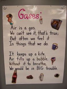 Gases anchor chart-cut out different pictures from a magazine and laminated them. I then put sticky Velcro on the pictures and anchor charts so the students could place the correct picture onto the correct cha Primary Science, Kindergarten Science, Elementary Science, Physical Science, Science Classroom, Science Education, Teaching Science, Science Activities, Science Ideas