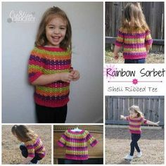 This rainbow colored crochet pattern is perfect for the carefree days of spring and summer. Work up this Springtime Toddler Tee for the little one in your life using any 4 colors of yarn you want.