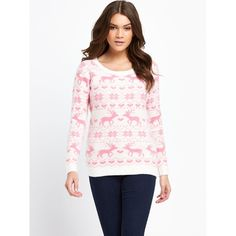 South Reindeer Heart Christmas Jumper (125 NOK) ❤ liked on Polyvore featuring tops, sweaters, evening sweaters, heart sweater, white top, heart tops and cream sweater
