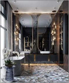 luxury home accents home accents homeaccents Luxurious covering of semiprecious stone, floor mirrors and even a shelving for books. Bathroom Design Luxury, Bath Design, Modern Bathroom, Bathroom Ideas, Bathroom Organization, Bathroom Inspiration, Bathroom Designs, Bathroom Renovations, Bathroom Grey