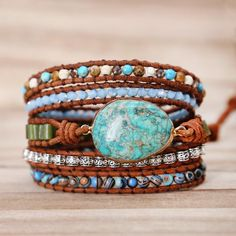 Calm your mind and body withthis beautifulProtection Stone Wrap Bracelet. It's believed that the Turquoise crystal absorbs all the negativity around you and promotes positive thoughts and feelings. Natural turquoise stone Genuine leather 83cm + 3-4 adjustable closure Stainless steel toggle clasp Handmade
