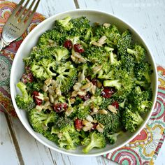 This lightened up broccoli salad is easy to make with only a few ingredients. You don't even need to turn on your stove! (Vegan and gluten free)