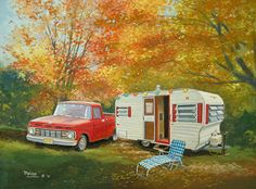 A beauty depicted by our friend Paige Bridges: Red shutters and pick up truck in full fall background. This travel trailer is a trailblazer! Old Campers, Vintage Campers Trailers, Retro Campers, Vintage Caravans, Camper Trailers, Ck Summer, Red Shutters, Vintage Rv, Camper Life