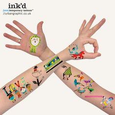 tatuajes para niños Divertidos tatoos temporales con Inked de Urban Graphic
