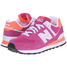 New Balance Classics WL574 (Azalea) Women's Lace up casual Shoes (1.125 ARS) ❤ liked on Polyvore featuring shoes, athletic shoes, lace up shoes, new balance classics, leather upper shoes, breathable shoes and laced shoes