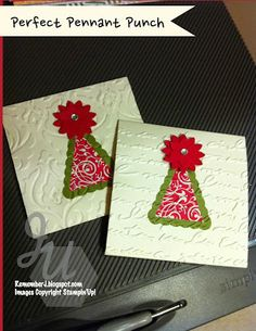 Monday Greetings Perfect Pennants Punch Boho Blossoms Punch Pretty Print and beautifully Baroque Embossing folders used on these Christmas 3 x 3 cards.
