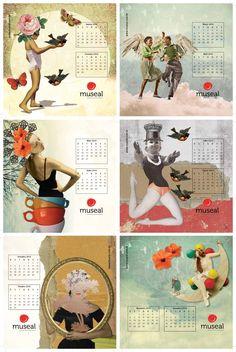 Lâminas do calendário 2016 com seis colagens minhas.  copyright Marcia Mattos