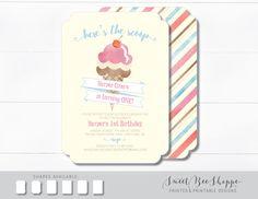 Ice Cream Birthday Invitation, Kids Ice Cream Birthday Party Invite, 1st Birthday, Ice Cream Social, Ice Cream Cone Birthday Invitation, by SweetBeeShoppe on Etsy https://www.etsy.com/listing/462056617/ice-cream-birthday-invitation-kids-ice