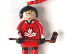 Custom Boy or Girl Hockey Player Christmas Ornament Christmas folk art ornament in polymer clay