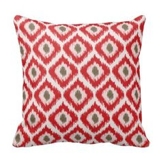 Beige And Yellow Diamond Ikat Pattern Pillow - Also available in pink, turquoise, yellow, red, blue and green color schemes. Red Throw Pillows, Ikat Pillows, Decorative Throw Pillows, Green Color Schemes, Party Plates, Dinner Plates, Ikat Pattern, Custom Plates, Plate Design