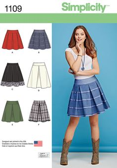 1109 Simplicity Creative Group - Misses' Skirts with Length and Trim Variations