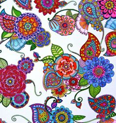 I like colorful, and I like paisley. Zentangle Drawings, Doodles Zentangles, Zentangle Patterns, Doodle Drawings, Zen Doodle, Doodle Art, Coloring Books, Coloring Pages, Flower Doodles