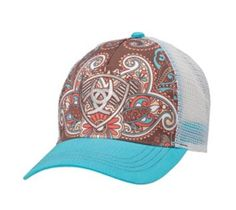 8c831f99219 Ariat Womens Hat Baseball Cap Paisley One Size Blue Brown 1543827