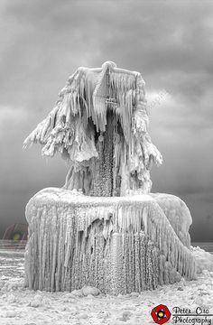 Ice Covered warning Buoy along Lake Michigan in St. Joseph Michigan