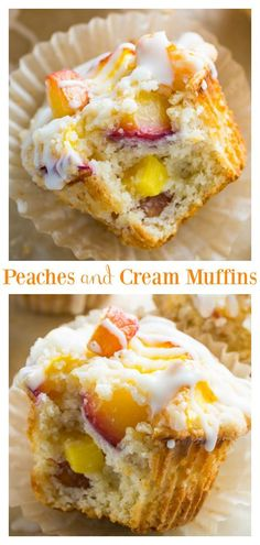 These moist and fluffy Peaches and Cream Muffins are sure to make you weak at the knees! These moist and fluffy Peaches and Cream Muffins are sure to make you weak at the knees! Köstliche Desserts, Dessert Recipes, Picnic Recipes, Plated Desserts, Food Cakes, Cupcake Cakes, Rose Cupcake, Cupcakes, Fruit Cakes