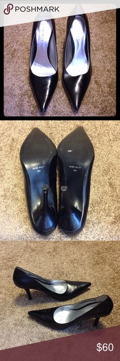 Nine West Pointed Toe Heels Excellent condition. One once. Black Nine West black leather pointed toe heels. 3 1/2 inch heel. Women's size 6. (Please note: small scuff on back of right shoe lower heel and minor scuffs on points of shoes). Nine West Shoes Heels