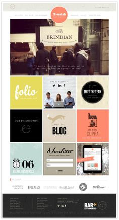 Flourish studios blog - shows branding from first mood board, to colour schemes, logo, patterns