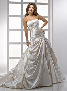 Soft Shimmer Satin Strapless Dipped Neckline A-line Wedding Dress