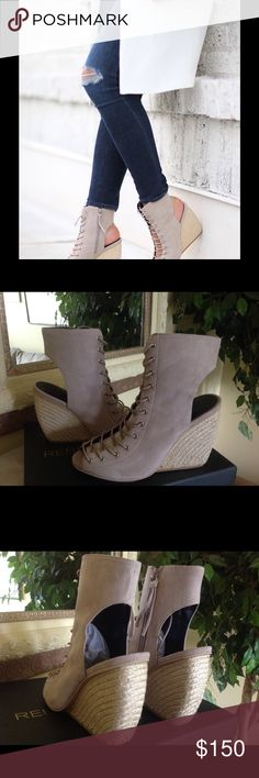 Rebecca Minkoff lace up wedge booties Rebecca Minkoff Sand Suede lace up wedge booties.  Brand new w/box.  Runs true to size to a tad large (7.5 will fit a size 8).  No trades. Rebecca Minkoff Shoes Lace Up Boots