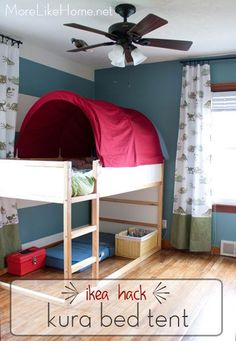 More Like Home: Ikea Hack - Kura Bed Tent Makeover LOVE this idea , the current ikea green tent is not an easy colour!