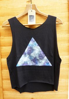 Galaxy Triangle, Dipped Hem Vest Ladies Summer Crop Top Vest Oversize
