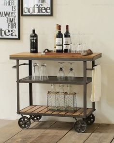 Perfect With It's Sturdy Iron Metal and Logs Wood.All over Wine Bar Cart Serving Table on 4 wheels and handles. Perfect for Kicthen Bar Dining Room Tea Wine Holder Serving Cart Furniture. Wine Cart, Beverage Cart, Drinks Trolley, Cocktail Trolley, Basement Bar Designs, Bar Cart Decor, Bar Cart Wood, Coffee Bar Home, Vintage Industrial Furniture