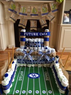 Football Staduim Diaper Cake for my friend Adrian who is having Twin boys.