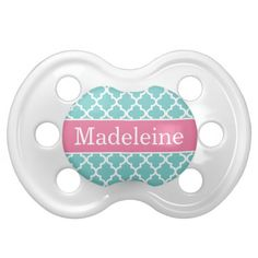 Baby Girl First Name | Custom Monogram Pacifier Design in Moroccan Pattern | Turquoise Blue and Bright Pink