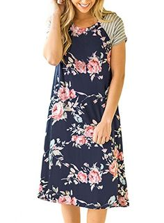 Twippo T shirt dresses for women, Women's Tunic Swing T-Shirt Dress Short Sleeve Floral Tunic Dress Navy Blue S