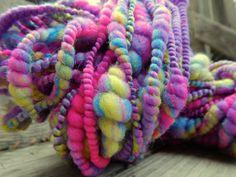 Electric Earthworms Handspun Art Yarn Coily by RainbowTwistShop