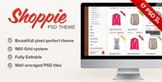 Buy Shoppie - Responsive E-Shop Template by adamantium on ThemeForest. New updated version 13 is now available (updated on June Shoppie is an elegant modern HTML template, suitab. Html Website Templates, Template Site, Psd Templates, Responsive Grid System, Map Marker, Slider, Shops, New Backgrounds, Wordpress Theme